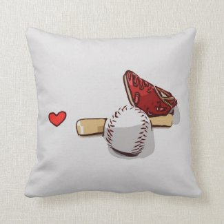 Baseball glove and bat with love watercolor throw pillow