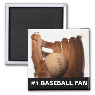 Baseball Glove & Ball 2 Inch Square Magnet