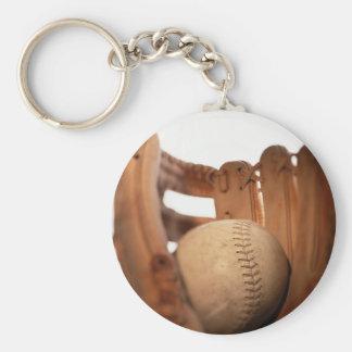 Baseball Glove & Ball Basic Round Button Keychain