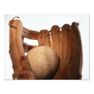 """Baseball Glove & Ball 4.25"""" X 5.5"""" Invitation Card"""