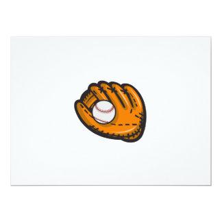 Baseball Glove Ball Retro Card
