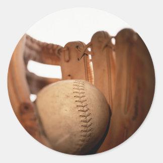 Baseball Glove & Ball Classic Round Sticker