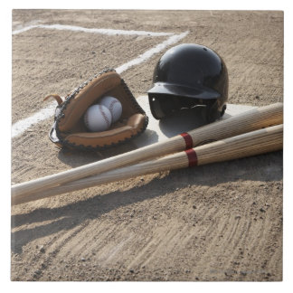 Baseball glove, balls, bats and baseball helmet ceramic tile