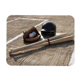 Baseball glove, balls, bats and baseball helmet magnet