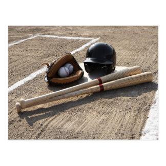 Baseball glove, balls, bats and baseball helmet postcard