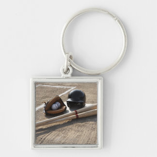 Baseball glove, balls, bats and baseball helmet Silver-Colored square keychain