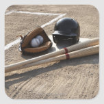 Baseball glove, balls, bats and baseball helmet square sticker