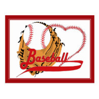 Baseball Glove & Baseball Heart Postcard