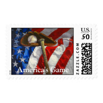 Baseball, glove, bat & American flag Postage