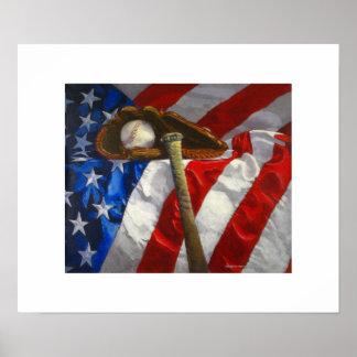 Baseball, glove, bat & American flag poster