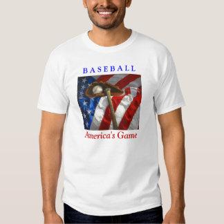 Baseball, glove, bat & American flag Tee Shirts