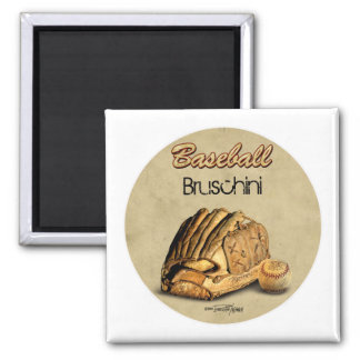 Baseball Glove - brown leather 2 Inch Square Magnet