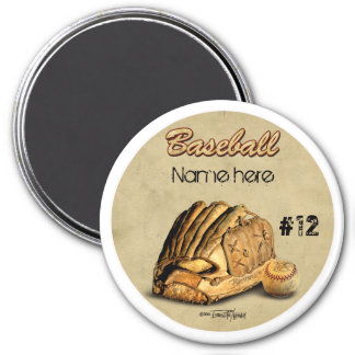 Baseball Glove - brown leather 3 Inch Round Magnet