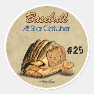 Baseball Glove - brown leather Classic Round Sticker