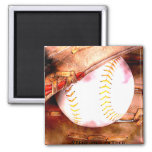 Baseball & Glove Grunge Style 2 Inch Square Magnet