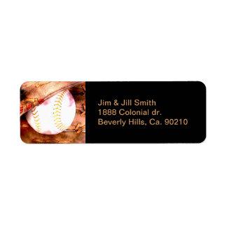 Baseball & Glove Grunge Style Return Address Label