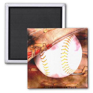 Baseball & Glove Grunge Style Magnet