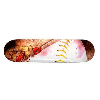 Baseball & Glove Grunge Style Skateboard Deck