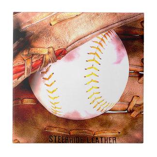 Baseball & Glove Grunge Style Small Square Tile