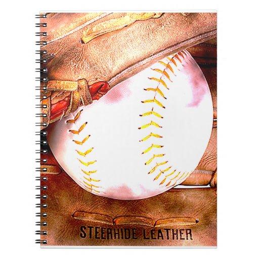 Baseball & Glove Grunge Style Spiral Notebook