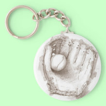 Baseball & Glove Keychain - Drawing of a baseball resting in a baseball glove.
