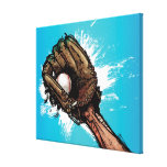 Baseball glove with base ball stretched canvas prints