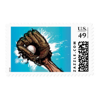 Baseball glove with base ball postage