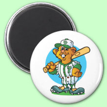 Baseball Gopher Magnet - fun and colorful cartoon.