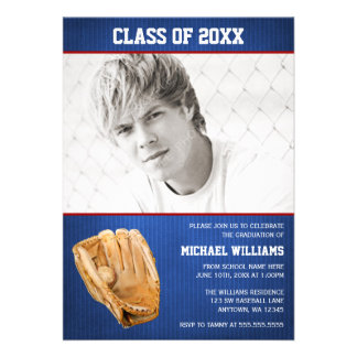 Baseball Graduation Blue Red Photo Personalized Announcements