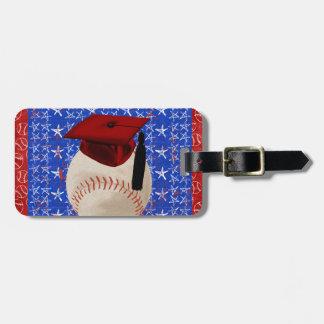 Baseball Graduation Cap, Stars, Red, White, Blue Bag Tag
