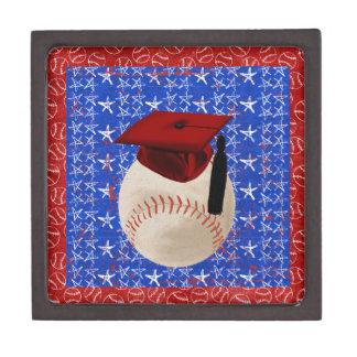 Baseball Graduation Cap, Stars, Red, White, Blue Gift Box
