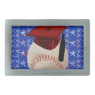 Baseball Graduation Cap, Stars, Red, White, Blue Rectangular Belt Buckle