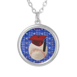Baseball Graduation Cap, Stars, Red, White, Blue Round Pendant Necklace