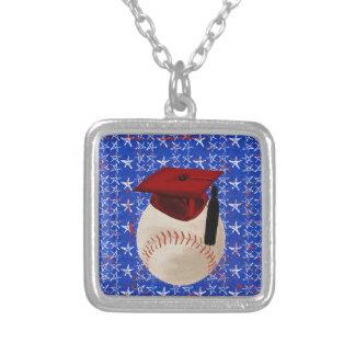 Baseball Graduation Cap, Stars, Red, White, Blue Square Pendant Necklace