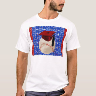 Baseball Graduation Cap, Stars, Red, White, Blue T-Shirt