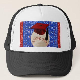 Baseball Graduation Cap, Stars, Red, White, Blue Trucker Hat