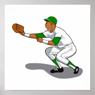 Baseball green player print