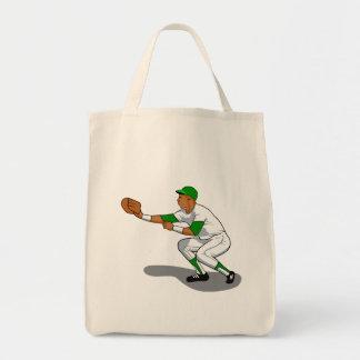 Baseball green player tote bag