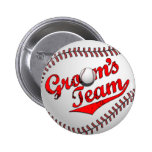 Baseball Groom's Team Button