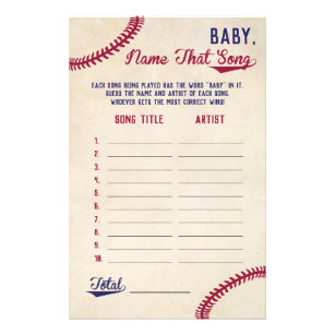 baseball guess the baby song baby shower game flyer