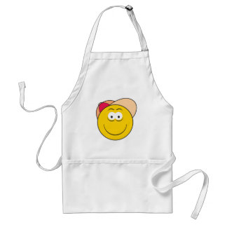 Baseball Hat Smiley Face Adult Apron