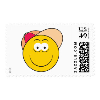 Baseball Hat Smiley Face Postage