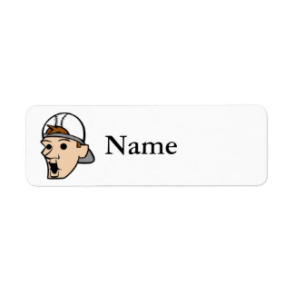 Baseball Head Man Label