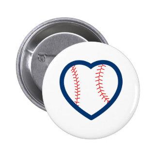 BASEBALL HEART 2 INCH ROUND BUTTON