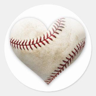 Baseball Heart Classic Round Sticker