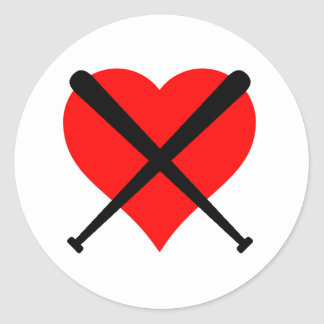 Baseball Heart Classic Round Sticker