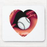 Baseball Heart Mouse Pads