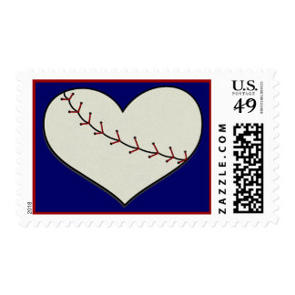 Baseball Heart Postage Stamps