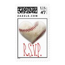 Baseball Heart RSVP Postage