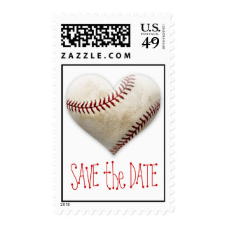 Baseball Heart Save the Date Stamp
